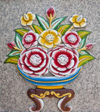 Wall sculpture of a flower. Royalty Free Stock Images
