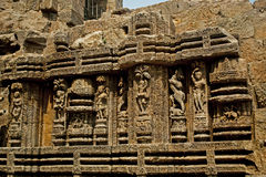 Wall Sculpture of Sun Temple Royalty Free Stock Photo