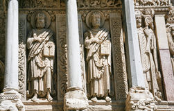 Wall sculptures of Church of St. Trophime in Arles. Travel to Provence, France - outdoor wall sculptures of ancient Church of St. Trophime in Arles city stock photography
