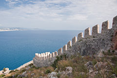Wall and sea in Alanya, Turkey Royalty Free Stock Photography
