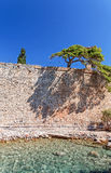 Wall at the sea, greece Royalty Free Stock Images