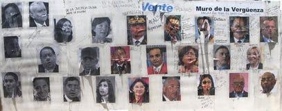 Wall of shame in Altamira Caracas Venezuela showing repressive government representatives. Hugo Chavez Nicolas Maduro and bolivarian politicians of the Royalty Free Stock Image