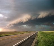 Storm front coming in over a Nebraska Road royalty free stock images