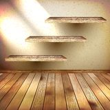 Wall shelves on grunge interior. EPS 10 Royalty Free Stock Images