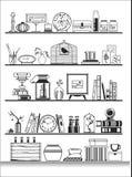 Wall shelves silhouette. Vector illustration Stock Image