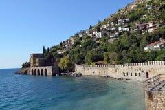 Wall and Shipyard of Alanya castle Stock Image