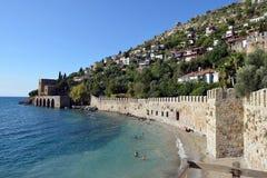 Wall and Shipyard of Alanya castle Royalty Free Stock Image