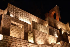Wall in Shiraz at night. Stone with light for tourist in Shiraz, Turkey Stock Photos