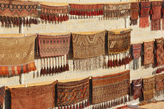 Wall showcase with old traditional carpets Royalty Free Stock Photo