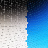 Wall of silver and blue puzzle. On 3d image render wall of silver and blue puzzle Stock Image