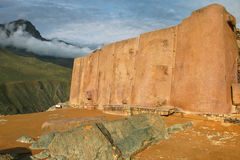 Wall of the Six Monoliths at Inca Fortress in Ollantaytambo, Per. U. Ollantaytambo was the royal estate of Emperor Pachacuti who conquered the region stock images