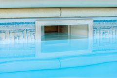 Wall skimmer filtration swimming pool system stock photos