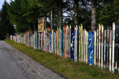 Wall of skis,  Brennes, Germany Stock Images