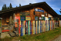 Wall of skis,  Brennes, Germany Stock Photos