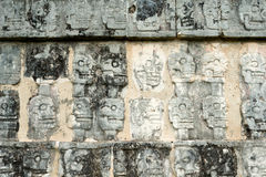 Wall of Skulls, Chichen Itza Ruins, Yucatan, Mexico Royalty Free Stock Photo