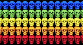 Wall of skulls colorful background 3d render Stock Images