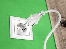 Wall socket on green wall and power plug vector illustration