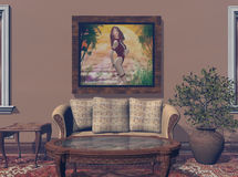 Wall and Sofa. Interior picture featuring a large wall painting.  Can easily be exchanged for your artwork.  Computer Generated Image, 3D Models Royalty Free Stock Photo