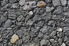 Wall of solidified lava. Wall made with pieces of solidified lava. Typical in Canary Islands. Spain stock images