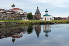 Wall of Solovetsky monastery and chapels, Russia Stock Image