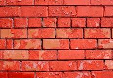 wall, som dålig tegelsten för bakgrund smärtade rött retro Royaltyfria Foton