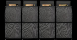 Wall of Sound - Speaker stacks and Guitar Amplifiers. 4 Speaker stacks and Guitar Amplifier on Dark Background Vector Illustration