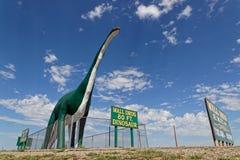 A green huge dinosaur at the entrance of Wall, South Dakota. WALL, SOUTH DAKOTA, September 12, 2018 : Dinosaur at the entrance of the town of Wall, and stock photo