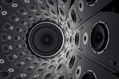 Wall of speakers. Royalty Free Stock Image