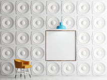 Wall of speakers with mock up poster, 3d illustration Royalty Free Stock Photography