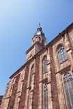 Wall and spire of Cathedral of Holy Spirit in Heidelberg Royalty Free Stock Photos
