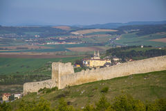 Wall of Spis Castle, Slovakia at summer day. Wall of Spis Castle - Spissky hrad, National Cultural Monument UNESCO, Slovakia at summer sunny day with picturesque stock photo
