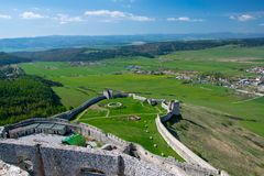 Wall of Spis Castle, Slovakia at summer day royalty free stock photography