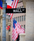 Wall St and Broad St street sign. In NYC Stock Images