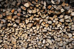 Wall of stacked firewood royalty free stock photo