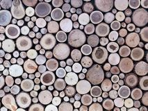 Wall of stacked wood logs as background royalty free stock photo