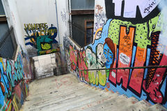 Wall and Stair with graffiti in Valparaiso, Chile Stock Images