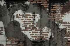Wall sticker cement brick block damaged. royalty free stock image