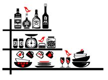Wall stickers black and red kitchen shelves Stock Image