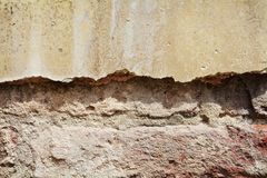 Wall, rifts, chinks on old antique Venetian walls Stock Image