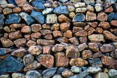 Wall of stone bricks and wire texture. Rock wall, Wire and rock, coloring rock texture stock photo
