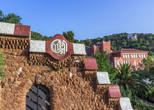 Wall stone in garden. Mosaic at the Parc Guell designed by Antoni Gaudi located on Carmel Hill, Barcelona, Spain Stock Photography