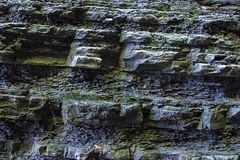 Wall stone uneven wet covered moss wall waterfall dark gray surface hard close-up background stone design base stock photography