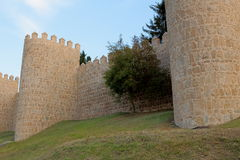 Wall. Stone walls and battlements located in Avila Stock Photos