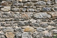 Wall of stones with irregular size. Wall of stones with some irregular size and grey seal Royalty Free Stock Image