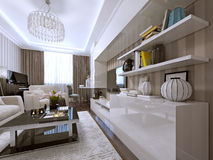 Wall storage and bookcase modern style. 3d render Stock Image