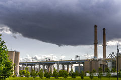 Wall Storm Cloud over Industrial Milwaukee. Storm cloud over Menomonee Valley in Milwaukee, Wi Royalty Free Stock Image