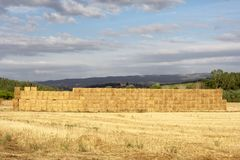 Wall of straw bales Stock Photos