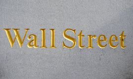 Wall Street. Sign on a marble wall Stock Images