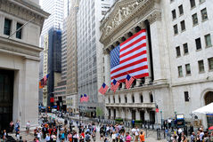 Wall Street. Filled with crowds in New York City Stock Image