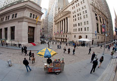 Wall Street. New York City Wall Street fish-eye photo with New York Stock Exchange building Stock Images